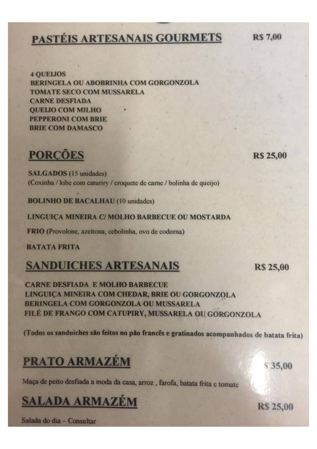 Menu do restaurante Armazém 102 - Página 1
