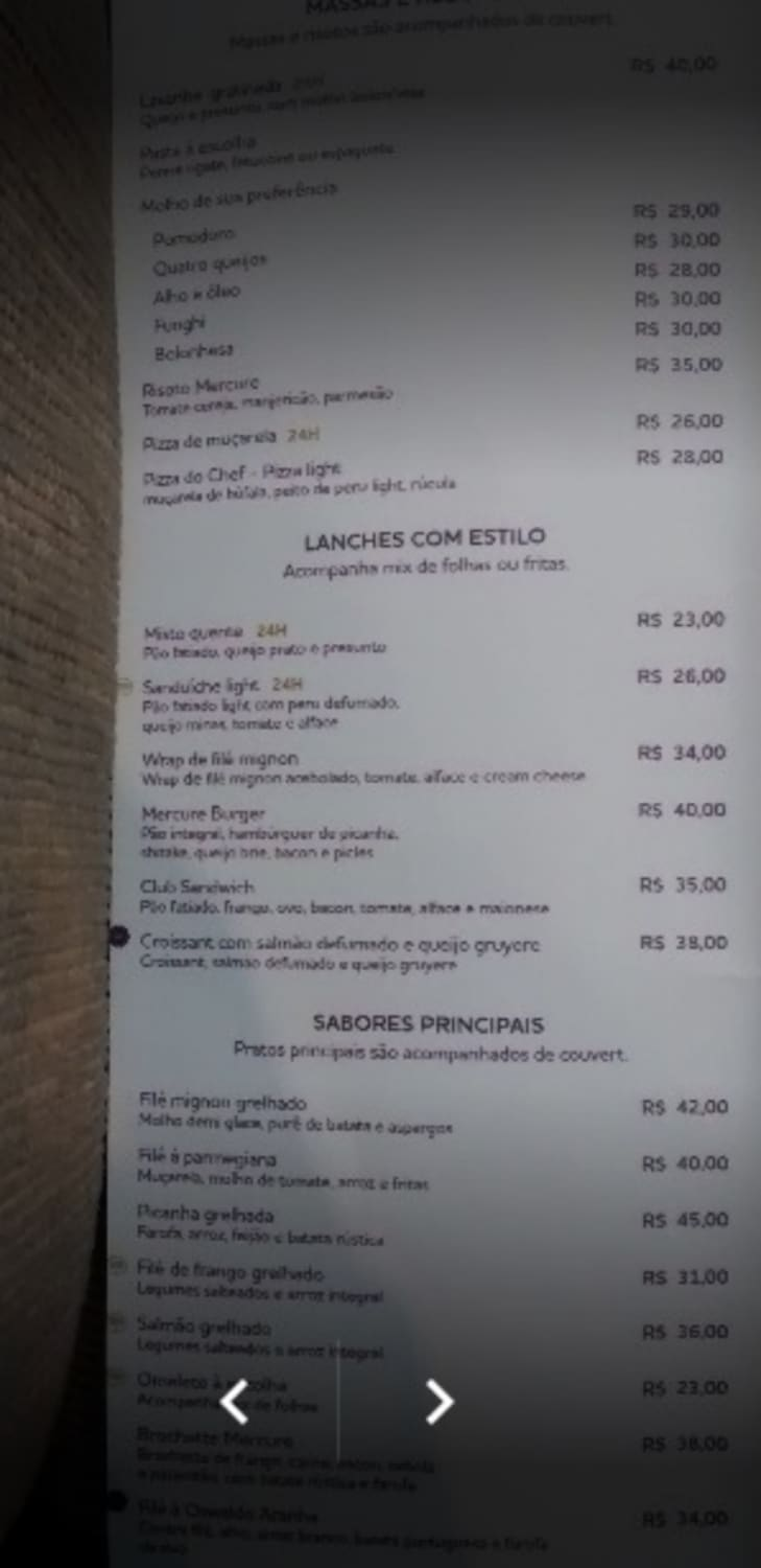 Menu do restaurante Amaranto - Página 1