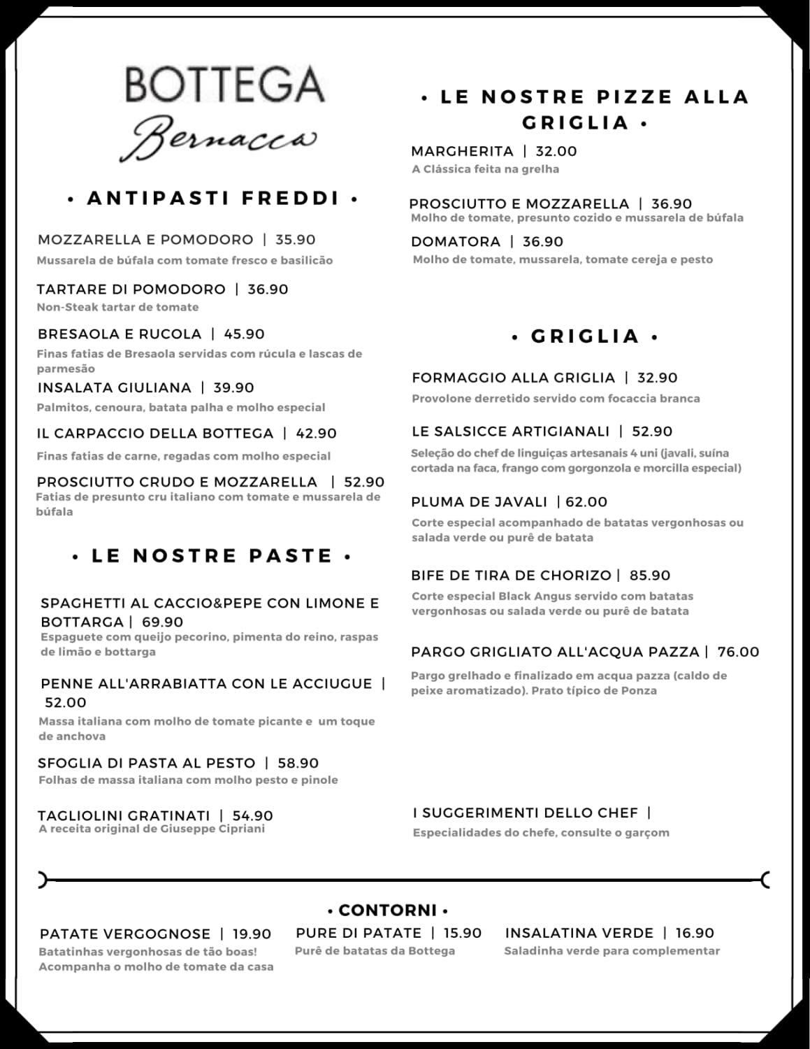 Menu do restaurante Bottega Bernacca Due - Página 1