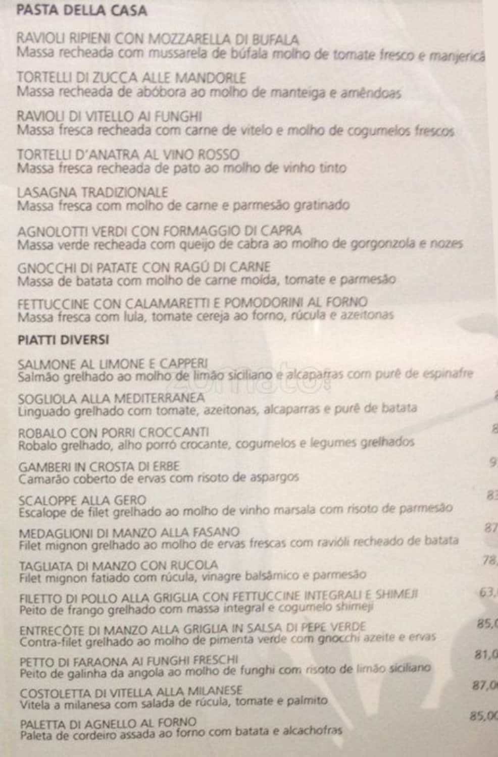 Menu do restaurante Gero Trattoria - Página 1