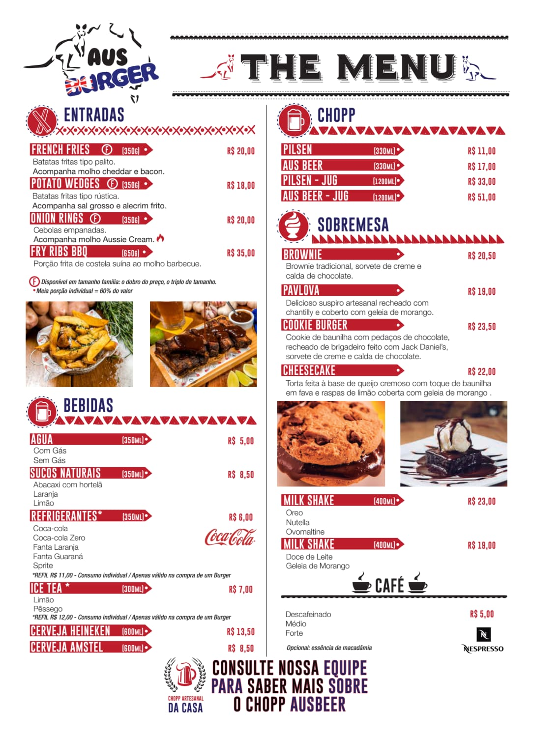 Menu do restaurante Aus Burger - Página 1