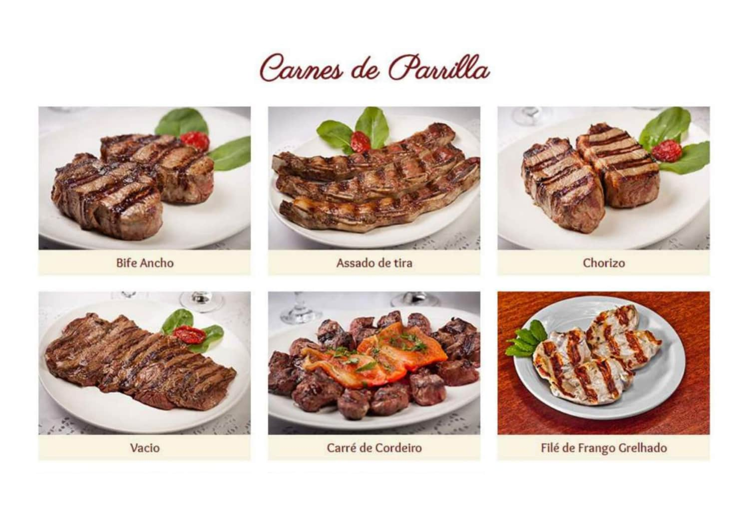 Menu do restaurante La Cabaña Parrilla - Página 1