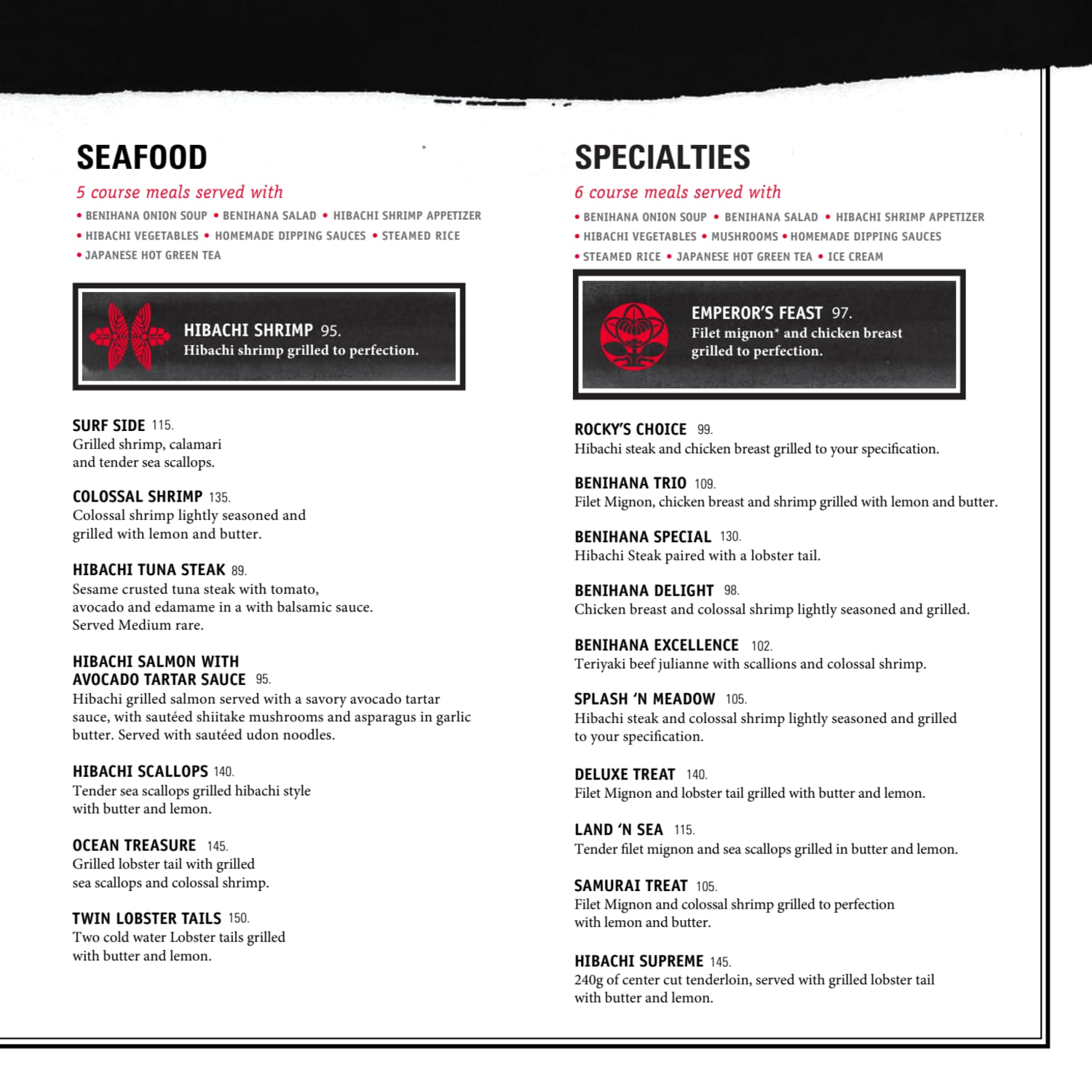 Menu do restaurante Benihana - Página 13