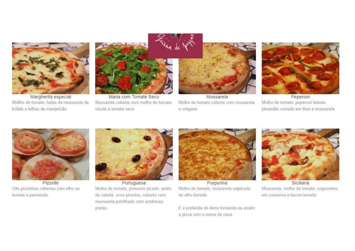 Menu do restaurante Purpurina Oficina de Pizzas - Página 3
