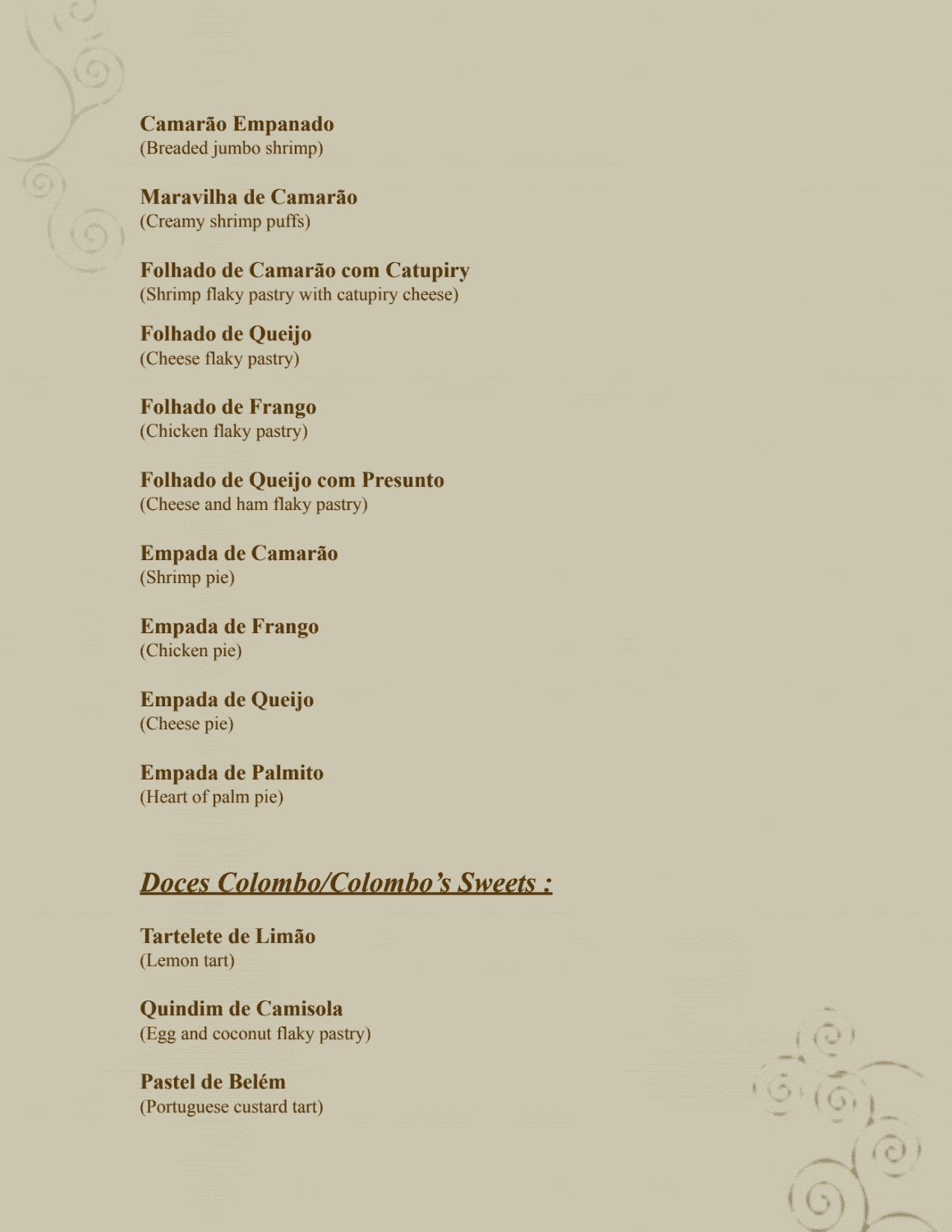 Menu do restaurante Confeitaria Colombo (Forte de Copacabana) - Página 4